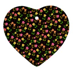 Flowers Roses Floral Flowery Ornament (Heart)