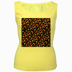 Flowers Roses Floral Flowery Women s Yellow Tank Top