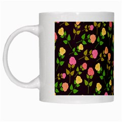 Flowers Roses Floral Flowery White Mugs