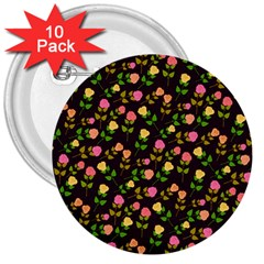 Flowers Roses Floral Flowery 3  Buttons (10 Pack)