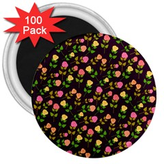Flowers Roses Floral Flowery 3  Magnets (100 pack)