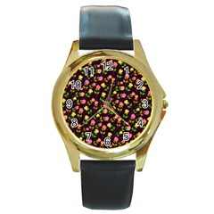 Flowers Roses Floral Flowery Round Gold Metal Watch