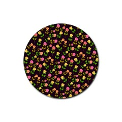 Flowers Roses Floral Flowery Rubber Round Coaster (4 pack)