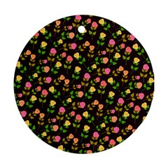 Flowers Roses Floral Flowery Round Ornament (two Sides)