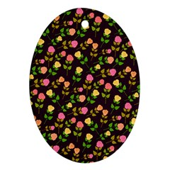 Flowers Roses Floral Flowery Oval Ornament (two Sides)