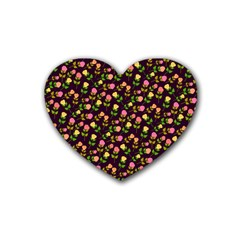 Flowers Roses Floral Flowery Rubber Coaster (heart)