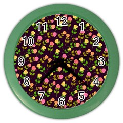 Flowers Roses Floral Flowery Color Wall Clocks