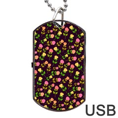 Flowers Roses Floral Flowery Dog Tag Usb Flash (one Side)