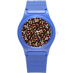 Flowers Roses Floral Flowery Round Plastic Sport Watch (S)