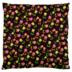 Flowers Roses Floral Flowery Large Flano Cushion Case (two Sides)