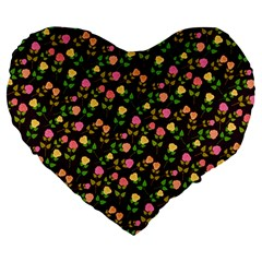 Flowers Roses Floral Flowery Large 19  Premium Flano Heart Shape Cushions