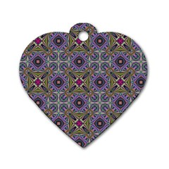 Vintage Abstract Unique Original Dog Tag Heart (two Sides)