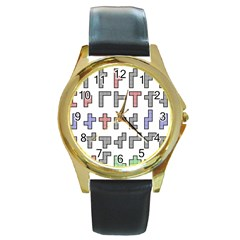 Hexominos Round Gold Metal Watch