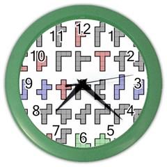 Hexominos Color Wall Clocks
