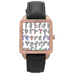 Hexominos Rose Gold Leather Watch