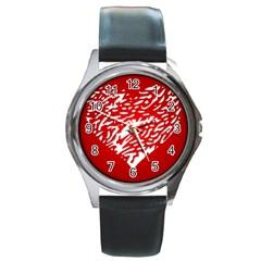 Heart Design Love Red Round Metal Watch