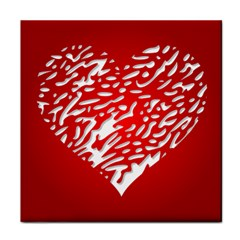 Heart Design Love Red Tile Coasters