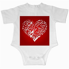 Heart Design Love Red Infant Creepers
