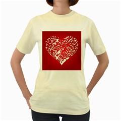 Heart Design Love Red Women s Yellow T Shirt