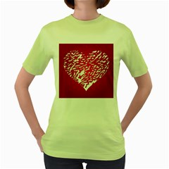 Heart Design Love Red Women s Green T Shirt