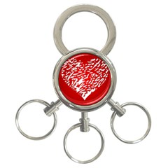 Heart Design Love Red 3-Ring Key Chains