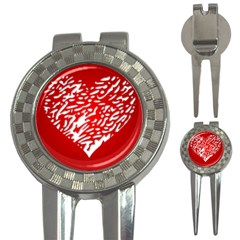 Heart Design Love Red 3 In 1 Golf Divots