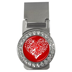 Heart Design Love Red Money Clips (CZ)