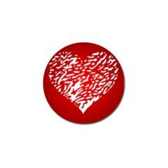 Heart Design Love Red Golf Ball Marker