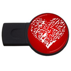 Heart Design Love Red Usb Flash Drive Round (2 Gb)