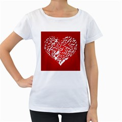 Heart Design Love Red Women s Loose Fit T Shirt (white)