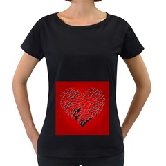 Heart Design Love Red Women s Loose Fit T Shirt (black)