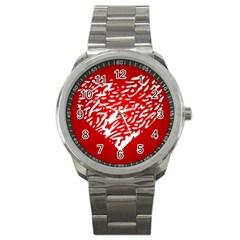 Heart Design Love Red Sport Metal Watch