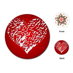 Heart Design Love Red Playing Cards (Round)