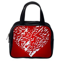 Heart Design Love Red Classic Handbags (one Side)