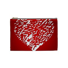 Heart Design Love Red Cosmetic Bag (medium)