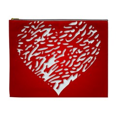Heart Design Love Red Cosmetic Bag (xl)