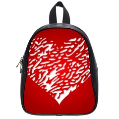Heart Design Love Red School Bags (small)