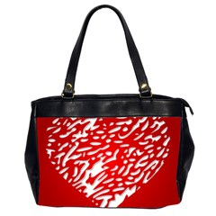 Heart Design Love Red Office Handbags (2 Sides)
