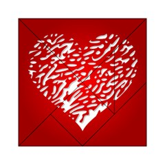 Heart Design Love Red Acrylic Tangram Puzzle (6  x 6 )