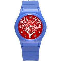 Heart Design Love Red Round Plastic Sport Watch (S)