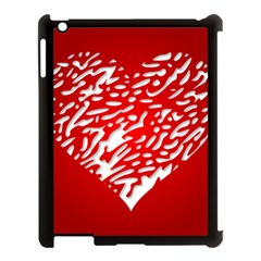 Heart Design Love Red Apple iPad 3/4 Case (Black)