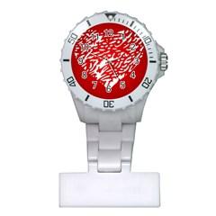 Heart Design Love Red Plastic Nurses Watch