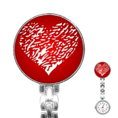 Heart Design Love Red Stainless Steel Nurses Watch