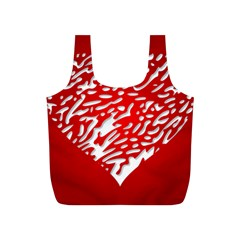 Heart Design Love Red Full Print Recycle Bags (S)