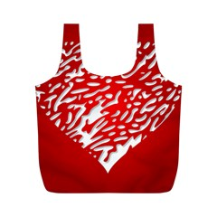 Heart Design Love Red Full Print Recycle Bags (m)