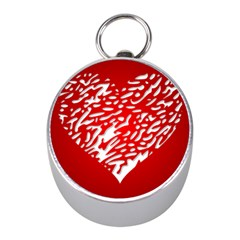 Heart Design Love Red Mini Silver Compasses