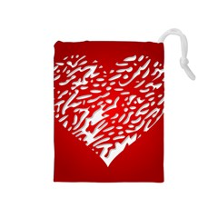 Heart Design Love Red Drawstring Pouches (Medium)