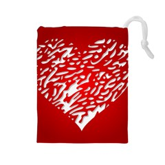 Heart Design Love Red Drawstring Pouches (large)