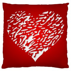 Heart Design Love Red Large Flano Cushion Case (One Side)