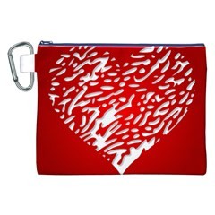 Heart Design Love Red Canvas Cosmetic Bag (XXL)